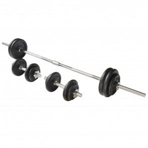 50kg Black Cast Iron Barbell and Dumbbell Weight Set