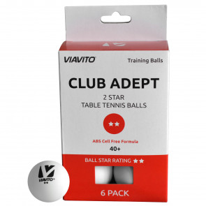 Viavito Club Adept 2 Star Table Tennis Balls - Pack of 6