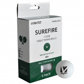 Viavito Surefire 1 Star Table Tennis Balls - Pack of 6